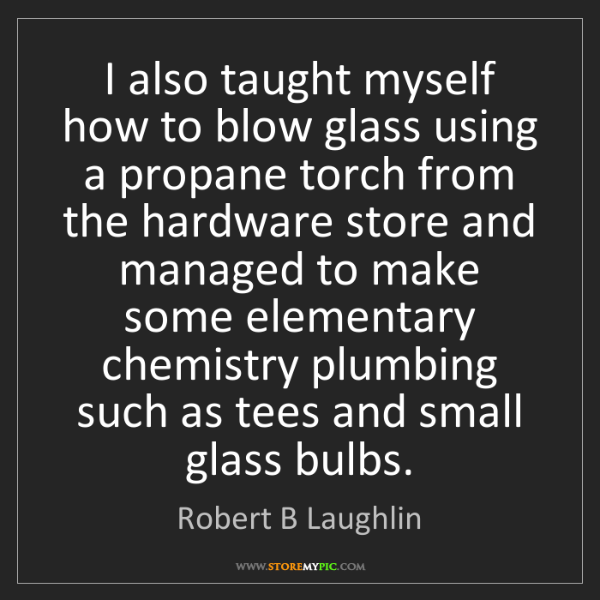 Robert B Laughlin: I also taught myself how to blow glass using a propane...