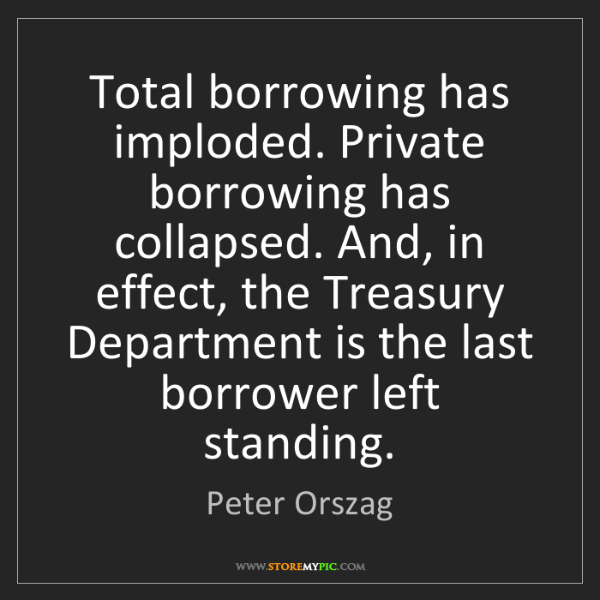 Peter Orszag: Total borrowing has imploded. Private borrowing has collapsed....