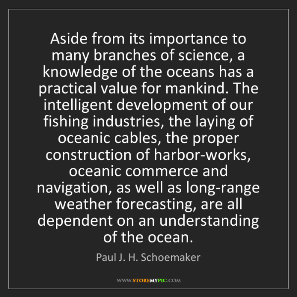 Paul J. H. Schoemaker: Aside from its importance to many branches of science,...