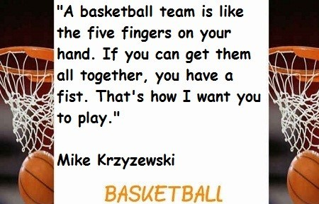 A basketball team is like the five fingers on your hand