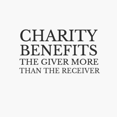Charity benefits the giver more than the receiver