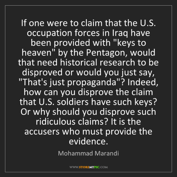Mohammad Marandi: If one were to claim that the U.S. occupation forces...