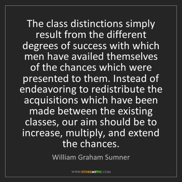 William Graham Sumner: The class distinctions simply result from the different...