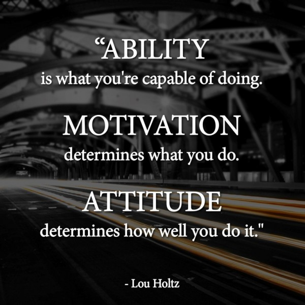 Ability is what youre capable of doing motivation determines what you do attitude