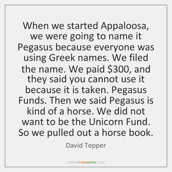 When we started Appaloosa, we were going to name it Pegasus because ...