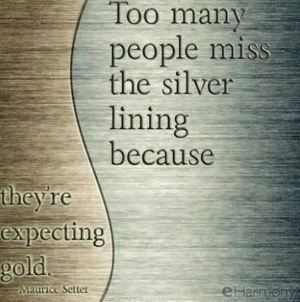 Too many people miss the silver lining because theyre expecting gold expectaion qu