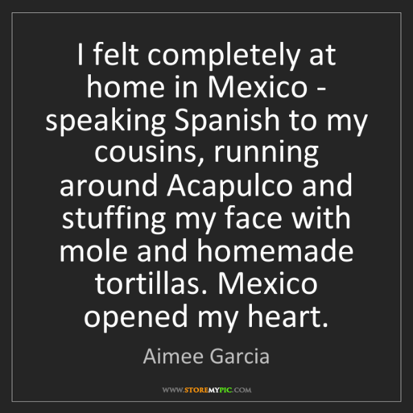 Aimee Garcia: I felt completely at home in Mexico - speaking Spanish...