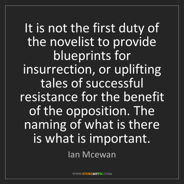 Ian Mcewan: It is not the first duty of the novelist to provide blueprints...