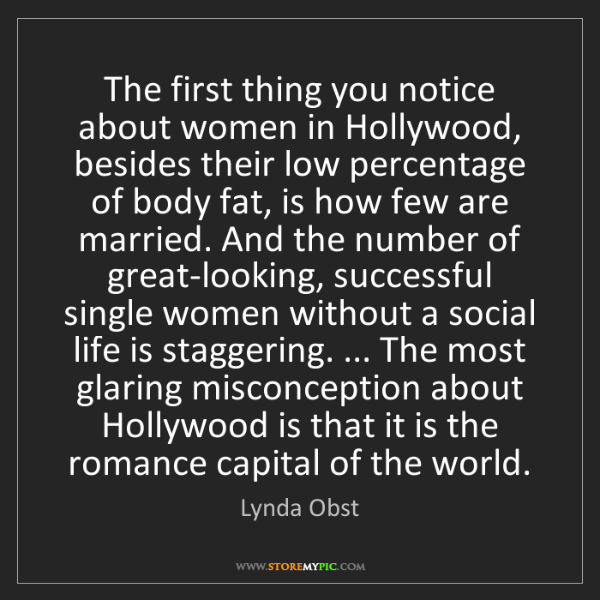 Lynda Obst: The first thing you notice about women in Hollywood,...