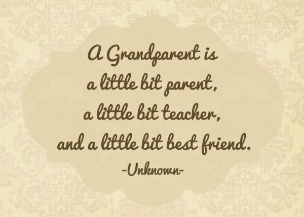 A grandparent is a little bit parent a little bit teacher and a little bit best