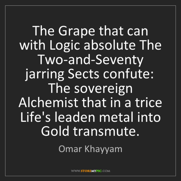 Omar Khayyam: The Grape that can with Logic absolute The Two-and-Seventy...