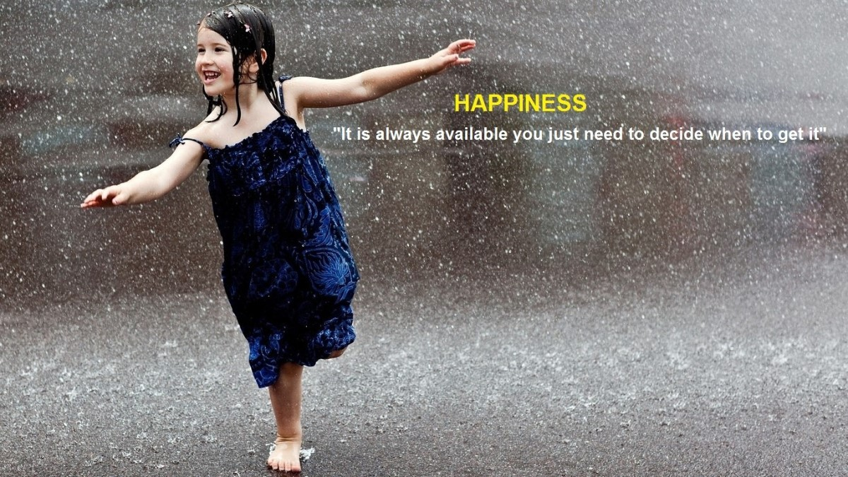Happiness Quote Girl Dancing In The Rain Storemypic