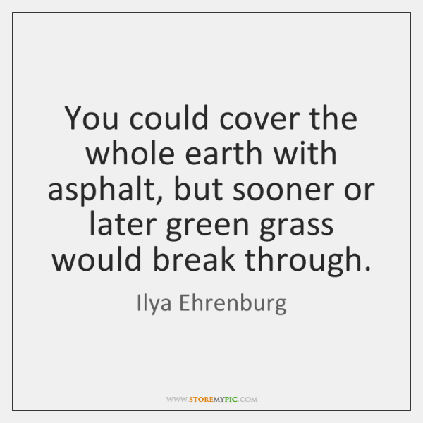 You could cover the whole earth with asphalt, but sooner or later ...