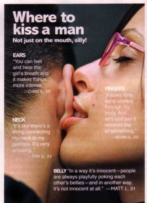 Where to kiss a man not just on the mouth silly