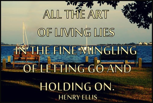 All the art of living lies in the fine mingling of letting go and holding on