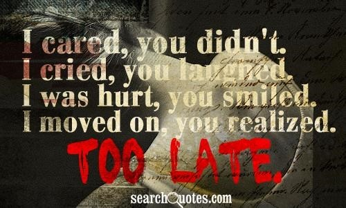 I cared you didnt i cried you laughed i was hurt you smiled i moved on you realized