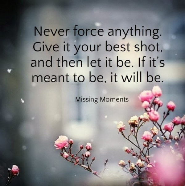 Never force anything give it your best shot and then let it be if its meant to be i