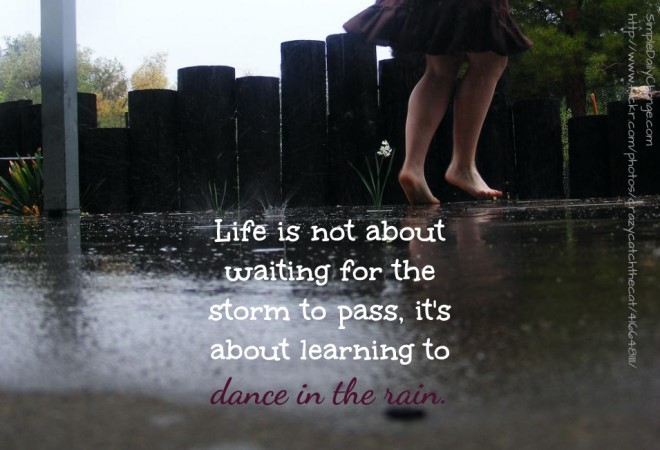 Life Is Not About Waiting For The Storm To Pass Its About Learning