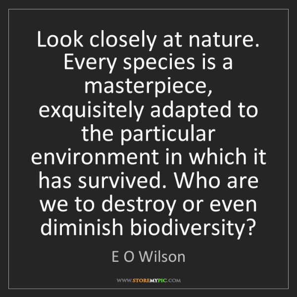 E O Wilson: Look closely at nature. Every species is a masterpiece,...
