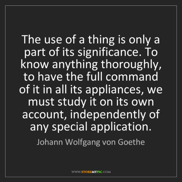 Johann Wolfgang von Goethe: The use of a thing is only a part of its significance....