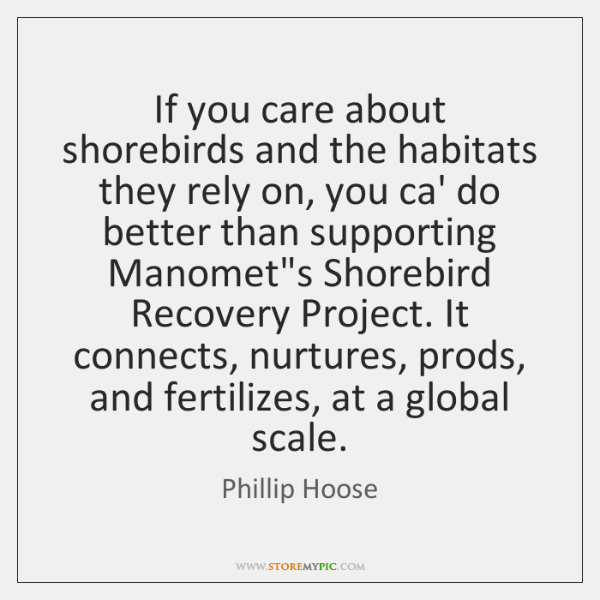 If you care about shorebirds and the habitats they rely on, you ...