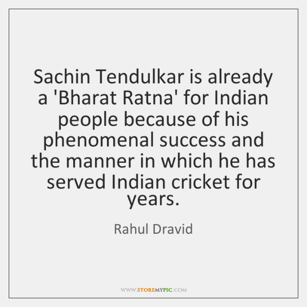 Sachin Tendulkar is already a 'Bharat Ratna' for Indian people because of ...