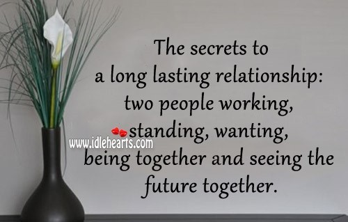 The secrets to a long lasting relationship two people working standing wanting being t
