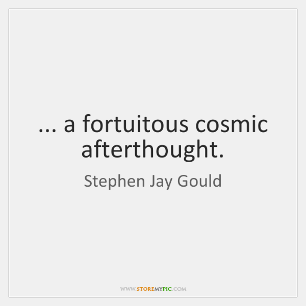 ... a fortuitous cosmic afterthought.