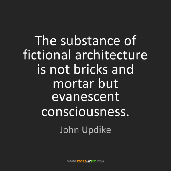 John Updike: The substance of fictional architecture is not bricks...