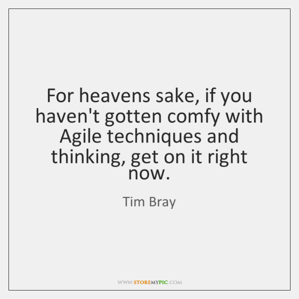 For heavens sake, if you haven't gotten comfy with Agile techniques and ...