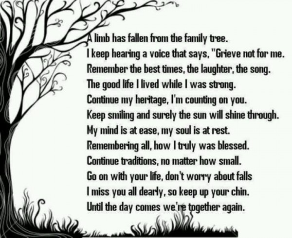 A limb has fallen from the family tree i keep hearing a voice that says grieve not for me
