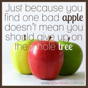 Just because you find one bad apple doesnt mean you should give up on the whole tree