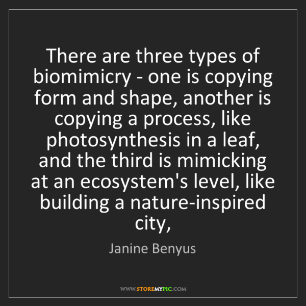 Janine Benyus: There are three types of biomimicry - one is copying...