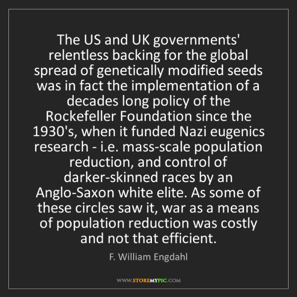 F. William Engdahl: The US and UK governments' relentless backing for the...