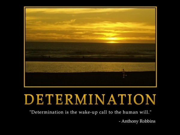 Determination is the wake up call to the human will