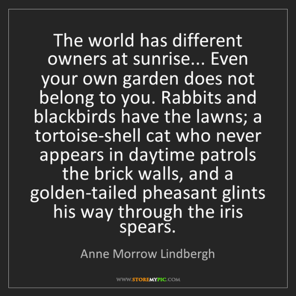 Anne Morrow Lindbergh: The world has different owners at sunrise... Even your...