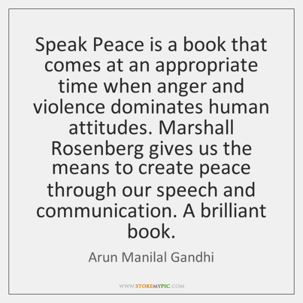 Speak Peace is a book that comes at an appropriate time when ...
