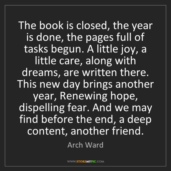 Arch Ward: The book is closed, the year is done, the pages full...