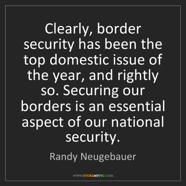 Randy Neugebauer: Clearly, border security has been the top domestic issue...