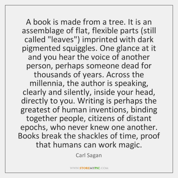 A book is made from a tree. It is an assemblage of ...