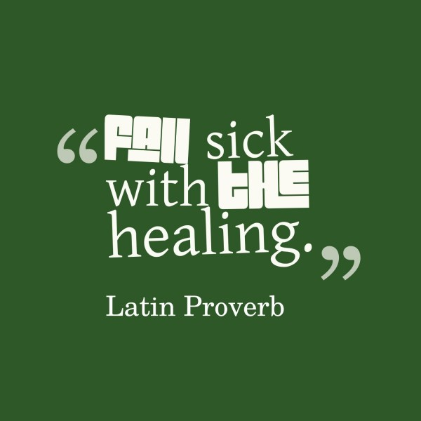 Fall sick with the healing lating proverb
