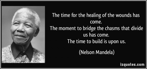 The time for the healing of the wounds has come the moment to bridge the chasms that d