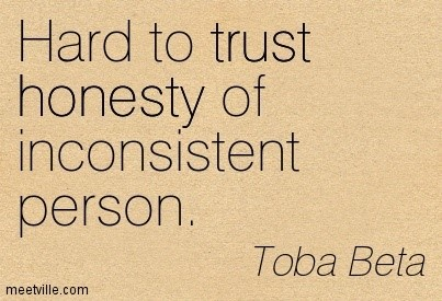 Hard to trust honesty of inconsistent person toba beta