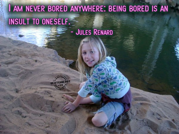 I am never bored anywhere being bored is and insult to onself jules renard
