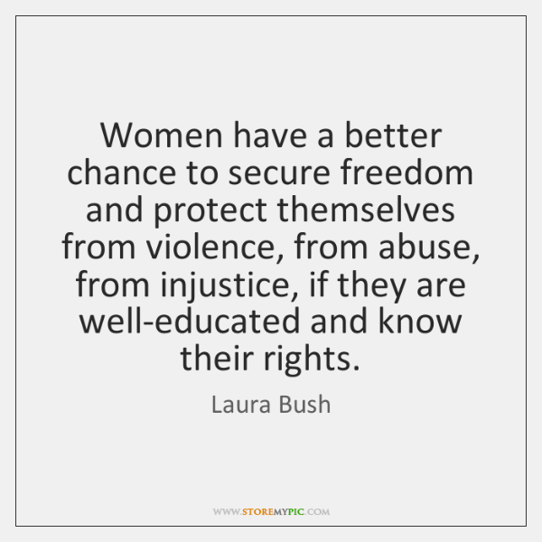 Women have a better chance to secure freedom and protect themselves from ...