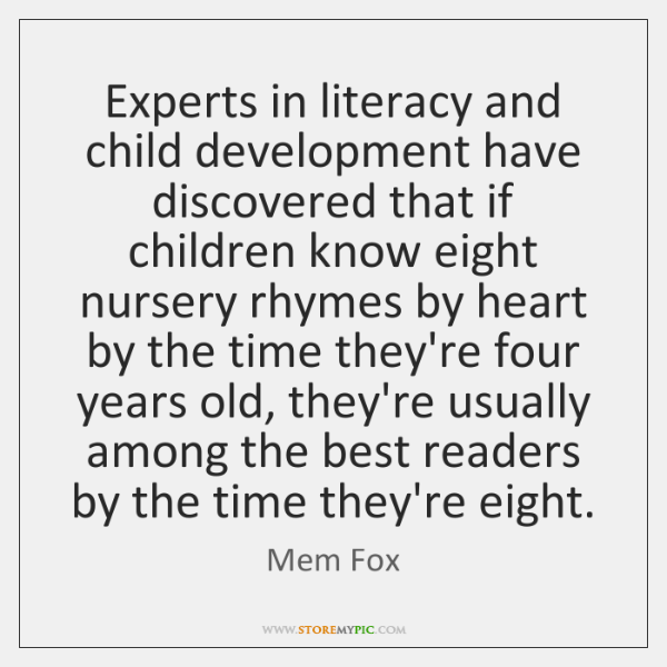 Experts in literacy and child development have discovered that if children know ...