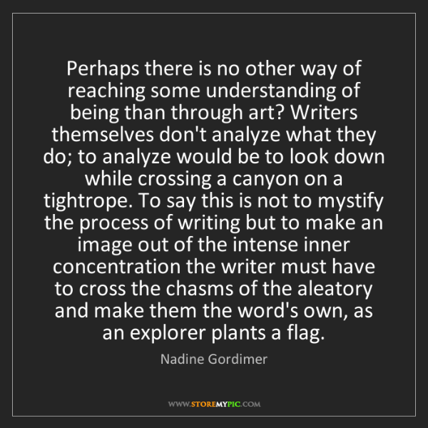 Nadine Gordimer: Perhaps there is no other way of reaching some understanding...