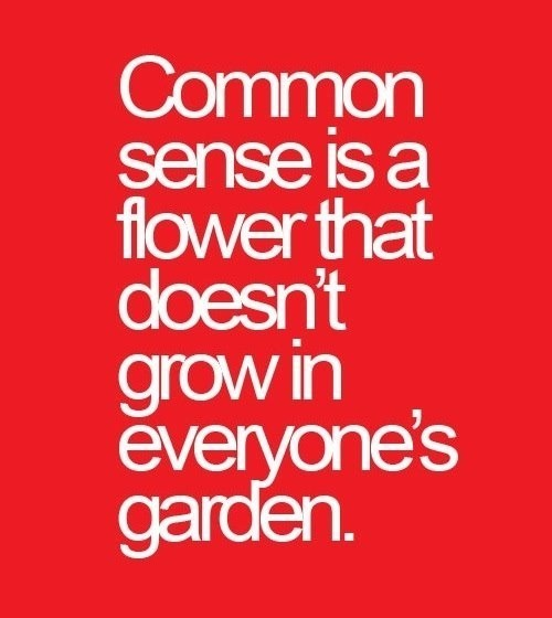 Common sense is a flower that doesnt grow in everyones garden