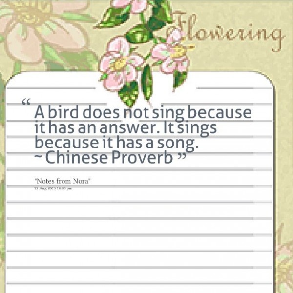 A bird does not sing because it has an answer it sings because it has a song chinese prov