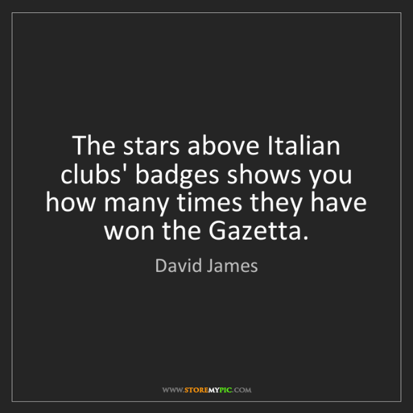 David James: The stars above Italian clubs' badges shows you how many...